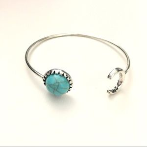 silver and turquoise open  bracelet cuff